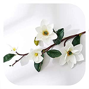 DIY Artificial EVA Foam Magnolia Flowers Decorative Fake Flower Bouquet for Home Hotel Office Party Decor Accessories 100cm,White 105