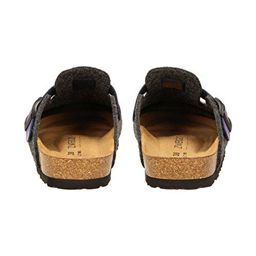 ZWEIGUT® -Hamburg- komood #345 Pantoffeln Hausschuhe Damen Komfort Wollfilz Puschen Clogs Latschen Leder-Komfort-Fußbett Dunkelgrau