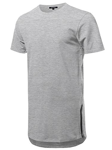 (Youstar Solid Short Sleeves Basic Long-Line Side Zipper T-Shirt Heather Gray Size L)