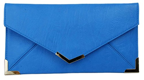 Nude Ladies New Neon Gold Vintage Small Girly HandBags Summer Blue Clutch Envelope Trim Bag Flat tqCTFR