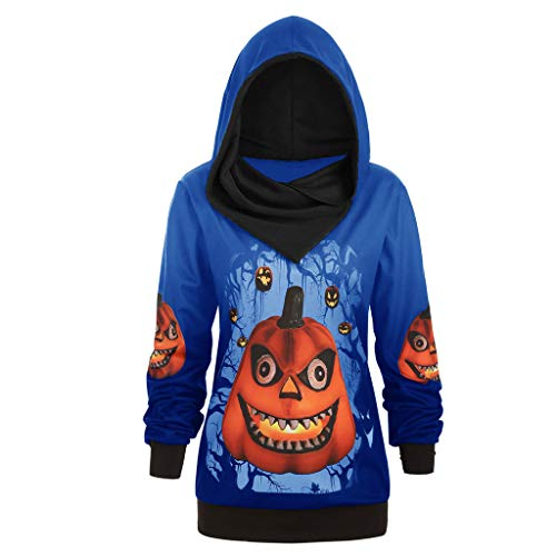 The Vaults Halloween London (TIANTI Womens Halloween Hoodie Plus Size 3D Pumpkin Print Comfortable Sweater Long Sleeve Lightweight Hooded Sweatshirts)