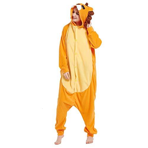 Animal Onesie Adult for Women Men Pajamas Christmas Orange Lion Cosplay Costumes(Orange-XL) for $<!--$38.99-->