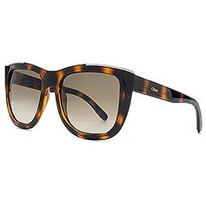 Chloe Women's Metal Arrow Brow Detail Sunglasses in Tortoise CE659S 219 55
