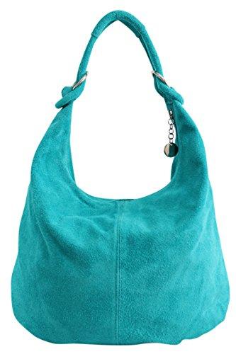 Shopper hombro grande gamuza AMBRA las de compartimiento WL822 de Turquesa de bolsa cuero Bolso de Bolso Moda mujeres de Bolso asas de CCxH6PUqwS