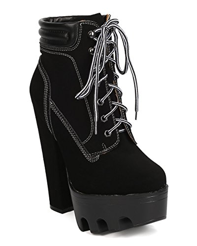 Wild Diva Women Nubuck Lug Sole Block Heel Bootie - Dressy, Cosplay, Night Out - Lace Up Heel Boot - GC93 by Black (Size: (Wild Diva Women Boots)