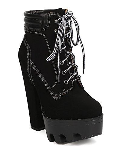 Wild Diva Women Nubuck Lug Sole Block Heel Bootie - Dressy, Cosplay, Night Out - Lace Up Heel Boot - GC93 by Black (Size: (Wild Diva Women Boots)