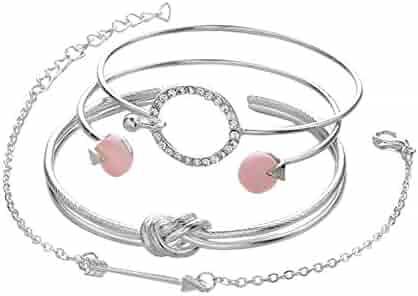 ba8ce3388 DaoAG-Accessories 4Pcs Bohemian Charm Bracelet for Rhinestone Crystal Open  Cuff Bracelets Jewelry Fashion Chain