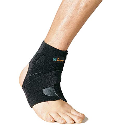 Jasper Ankle Brace Sleeve Open Heel Support for Strains, Sprains, Arthritis, Injury Pain Relief, with Stays Adjustable Breathable Compression Neoprene