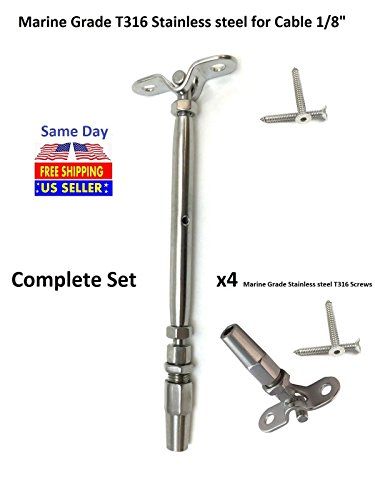 Cable Railing T316 Stainless Steel Swageless Tensioner Deck Toggle-1/8