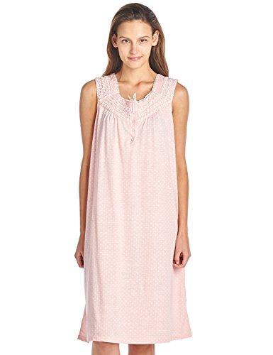 Casual Nights Women's Fancy Lace Trim Sleeveless Nightgown - Dot Peach - X-Large ()