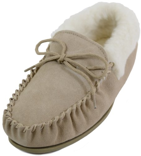 Snugrugs Womens Beige / Camel Wool Lined Moccasin Slippers with Rubber Sole & Wool Cuff. Size US 9 (Moccasins Womens Sheepskin)