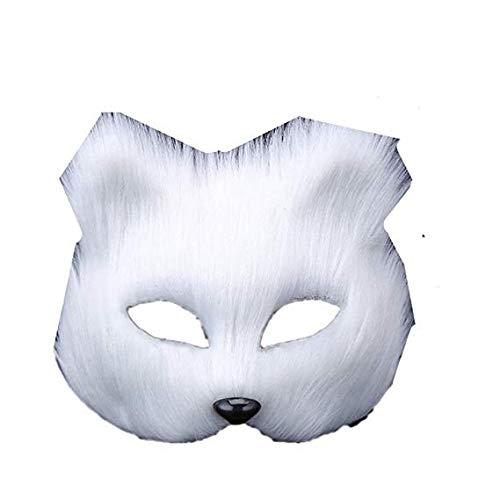 Face mask Shield Veil Guard Screen Domino False Front Makeup Dance mask Animal Half face Show Props Halloween Long-haired Fox,White