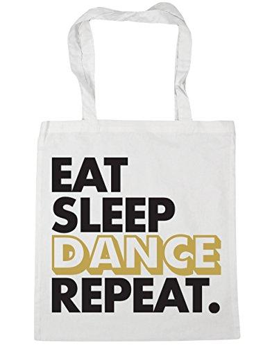 HippoWarehouse Eat Sleep Tanz Wiederholen sie die Einkaufstasche Fitnessstudio Strandtasche 42cm x38cm, 10 liter - Weiß, One size
