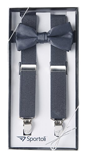 Suspenders for Kids Gift Set Wedding Tuxedo Genuine Leather Premium 1 Inch Suspender -Charcoal (26 (Charcoal Gray Tuxedo)