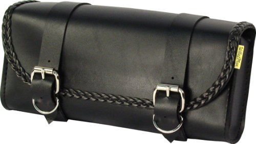 Dowco Willie & Max 58232-20 Braided Series: Synthetic Leather Motorcycle Tool Pouch, Black, Universal Fit (Lee Shoei Designs Troy)