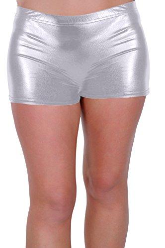 [EyeCatch - Kalypso Womens Girls Dance Fancy Dress ClubWear Sports Gym Hot Pants Shiny Mettalic Stretch Shorts - Silver, US Size Small / Medium] (Womens Sport Fancy Dress)