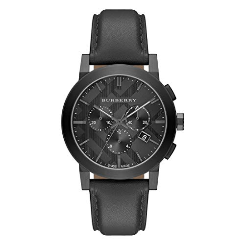 Burberry Black Dial Stainless Steel Leather Chrono Quartz Men's Watch - Burberry Black Leather