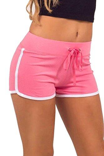 Pantaloncini Allenamento Atletico Magro Rosa Estate Le Yoga Donne Zojuyozio Elastico RSO87wxgn