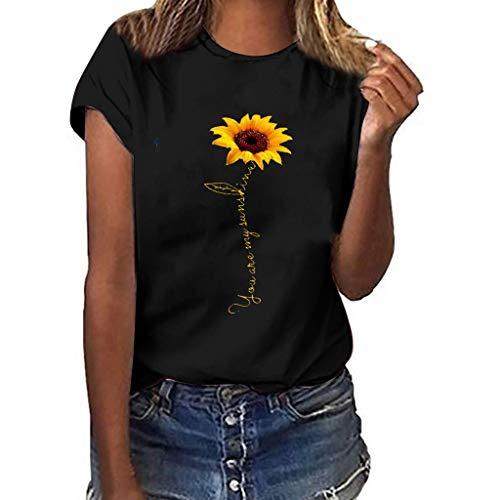 Londony❀♪ Sunflower T-Shirt Women Cute Funny Graphic Tee Teen Girls Casual Short Sleeve Shirt Tops Summer T Shirt Black