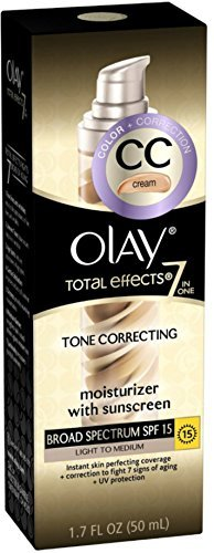 OLAY Total Effects 7-in-1 Tone Correcting Moisturizer, SPF 15, Light to Medium 1.7 oz (Pack of 2)