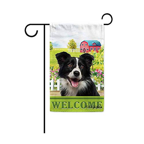 BAGEYOU Welcome A Lovely Dog Border Collie in The Country Garden Flag for Outside Beautiful Rustic Rural Landscape Red House Flowers Home Decor Banner 12.5X18 Inch Print Double - Border Beautiful Collie