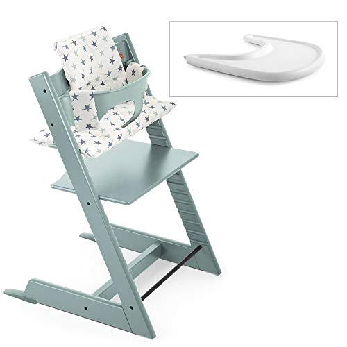 Stokke 2019 Tripp Trapp High Chair Complete Bundle, Aqua Blue with Aqua Star Cushion and White Tray