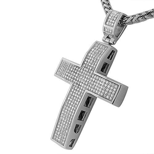 - My Daily Styles Stainless Steel White CZ Large Hip Hop Cross with Chain Mens Pendant, 36