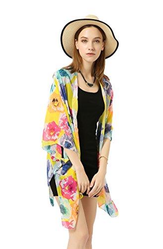 Women's Kimono Cardigan Capes Floral Paisley Print Sheer Chiffon Loose (Yellow)