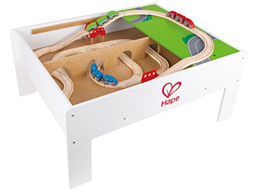 Hape Railway Play and Stow Storage and Activity Table for Wooden Trainsets by Hape