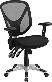triple seated home office area. flash furniture midback black mesh chair with triple paddle control and height adjustable arms seated home office area