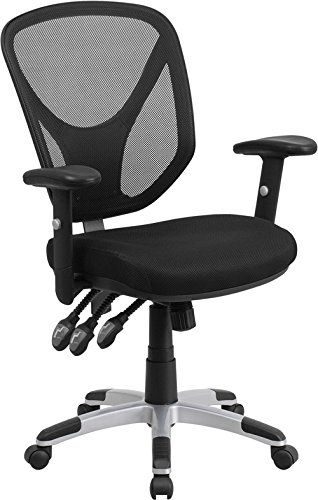 Adjustable Chair Swivel Task Height - Mid-Back Black Mesh Swivel Task Chair with Triple Paddle Control and Height Adjustable Arms