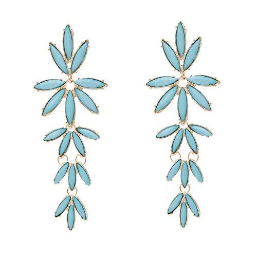 (PHALIN JEWELRY Women's Gold-tone Crystal Flower Earrings - Delicate Rhinestone Flower Statement Dangle Earrings)