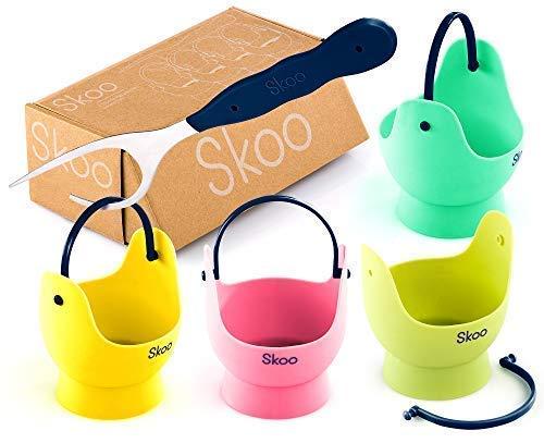 Skoo Silicone Egg Poacher Cups + Free Fork + Bonus eBook - E