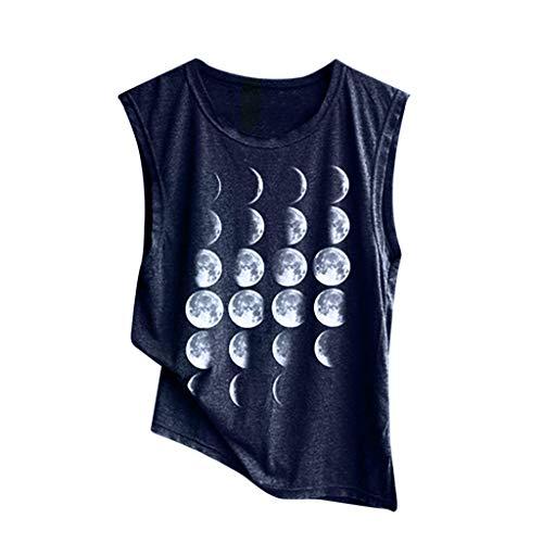 - 4Clovers Women's Summer Sleeveless Round Neck Print Loose Casual Cotton Tank Tops Dark Blue