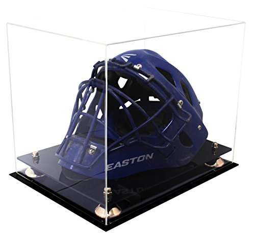 Deluxe Clear Acrylic Catchers Helmet Display Case with Gold Risers (A002-GR)