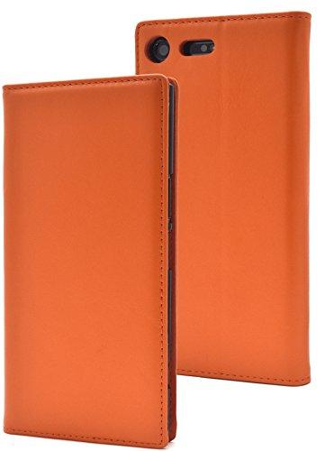 アンカーに渡って護衛PLATA Xperia XZ Premium SO-04J ケース 手帳型 ラム シープスキン 羊革 本革 レザー カバー 【 オレンジ 橙 おれんじ orange 】