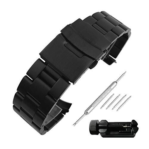 Beauty7 20mm Black Curved End Matte 316L Stainless Steel Link Watch Band Straps Replacement Bracelet Double-Lock Deployment Clasp for Men Women Watches Smartwatch Gear