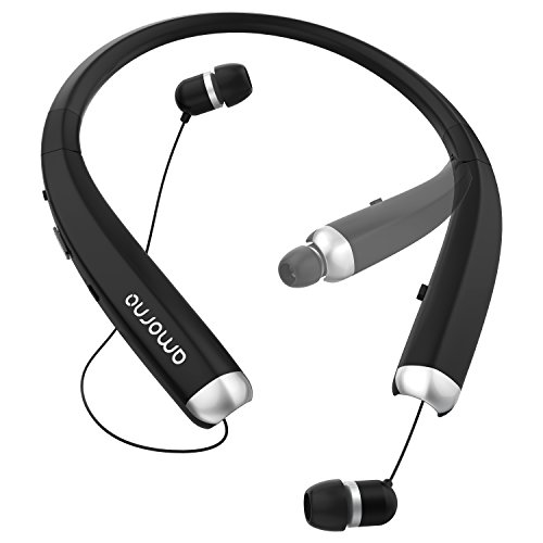 Foldable Bluetooth Headphones, AMORNO Wireless Neckband Sports Headset with Retractable Earbuds, Sweatproof Noise Cancelling Stereo Earphones with Mic for iphone, Android and Bluetooth Enables Devices