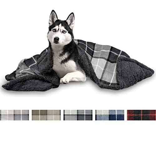 PetAmi Deluxe Dog Blanket for Large Dogs   Sherpa Fleece Pet Throw Blanket for Couch Sofa Bed   Soft Durable Reversible Furniture Protector for Medium Dog Cat Puppy - 60x40 Plaid Charcoal