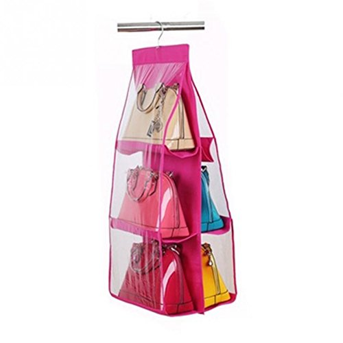 Organizer For - 6 Pocket Foldable Hanging Handbag Purse Bag Tidy Organizer Hanger - Boots Neverfull Forms Nail Pans Glasses Station Drink Remotes Cards Tools Bags Rack Drawers Watch Luggage Doo