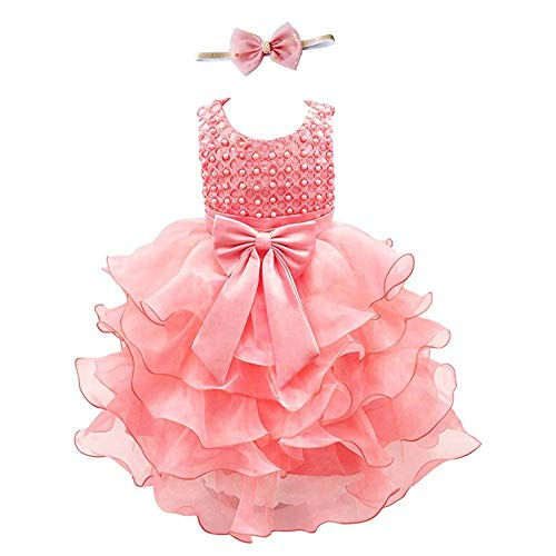 Weileenice Girls Kids Tulle Flower Dress Baby Girl Princess Wedding Pageant Birthday Party Dresses (12-18 Months, Coral Dress+Blush Headband)