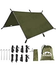 """ARAER Tent Tarp, Hammock Rain Fly, 114"""" x 114""""/9.5ft, 600g/1.32lbs, 2000PU Waterproof, Windproof, UV 50+ Sunshade, Essential Survival Camping/Hiking/Backpacking/Cycling Gear, 4 Stakes and 8 Ropes"""
