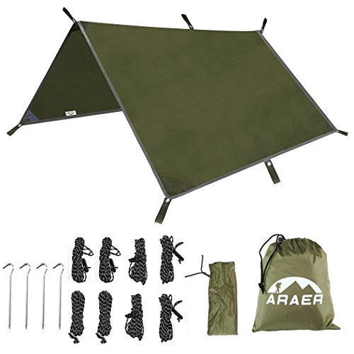 Hammock Rain Fly Tarp, 118'' x 118''/9.8ft, 600g/1.32lbs, 2000PU Waterproof, , Windproof, UV-proof, Great Shelter for Tent, Essential Survival Camping/Hiking/Backpacking Gear, 4 Stakes and 8 Ropes by ARAER
