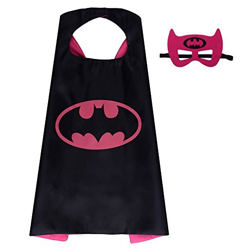 Halloween Costume Superhero Dress Up For Kids - Best For Christmas Gift, Children's Birthday, Cosplay Party. Satin Cape and Felt Mask Role Play Set. Cartoon Outfit For Boys and Girls (Batgirl)