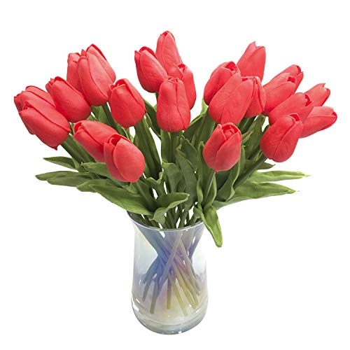 JOEJISN 30pcs Artificial Flowers Real Touch Red Tulips Holland PU Tulip Bouquet Latex Plants for Party Office Kitchen Plants Decoration (Bright - Red Bright Flowers