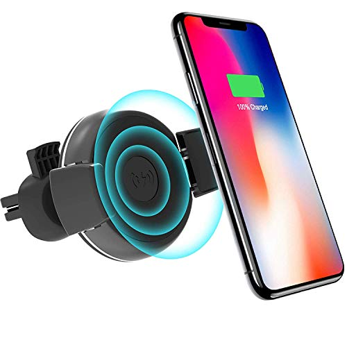 Dakik Wireless Car Charger - Car Wireless Charger for Apple iPhone X/8/8 Plus, Samsung Galaxy Note 8/S8/S8 Plus/S7/S6 Edge Plus/Note 5 and All QI-Enabled Devices Upgraded 10W, USB Car Charger (DK 20)