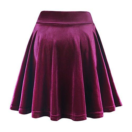 Jupe Fille Court Rtro Jupe Femmes GoCo Elastique Velours Rouge Vin Urban Mini Patineuse Plisse z0BtWwx