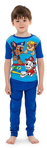Nickelodeon Boys' Big Paw Patrol 4-Piece Cotton Pajama Set, Blue, 8