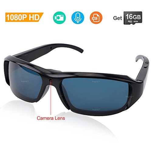 Toughsty 16GB 1080P HD Recording Sunglasses Video Action Camera Eyewear Camcorder for Outdoor - Camcorder Sunglasses Video