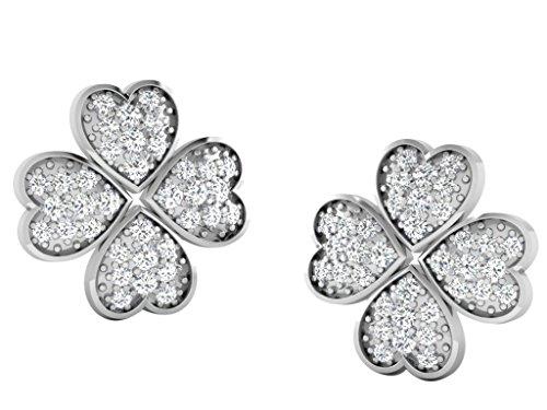 Libertini Boucle d'oreille argent 925 plaque or Rose serti de Diamant en forme de Fleur
